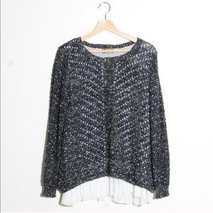 LF black and white ruffle layered sweater size S/M